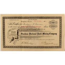 Shoshone National Bank Mining Co. Stock Certificate