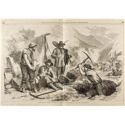 Ballou's California Gold Diggers Illustration c.1855-1859