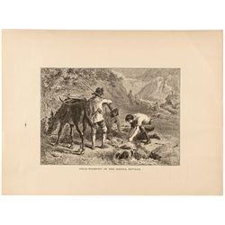 Gold Washing in Sierra Nevada Print by Darley c. 1880s
