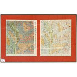 2 USGS Quadrangle Sheets, Framed, c1890