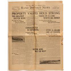Rand District News, Randsburg, California, 1922