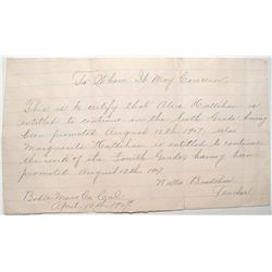 Personal letter from Nellie Bradshaw, teacher, to Alice Hallihan, student