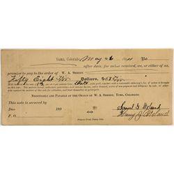 Rare Yuma, Colorado Check 1894 w/ Sheedy Signature