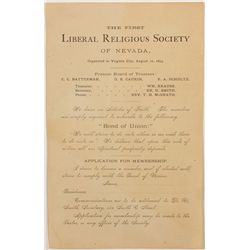 First Liberal Religious Society of NV Handbill