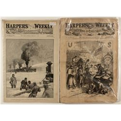 1863, 1890 Harper's Weekly--Central Pacific Railroad Cover Illustration
