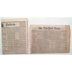 Two Historic Newspapers: 1863 San Francisco Evening Call and 1862 NY Times
