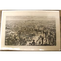 Print of the Diamond Diggings in South Africa