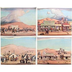 Four Prints on the Stages of a Mining Camp from Desert Magazine