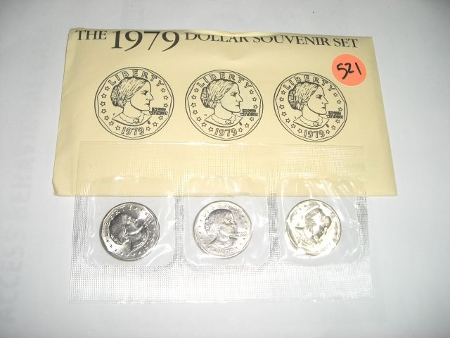 1979 P,D & S SUSAN B ANTHONY $1 3 COIN UNITED STATES SOUVENIR SET IN  ORIGINAL MINT PACKAGE!!