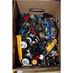 BOX WITH DIE CAST CARS AND TRUCKS