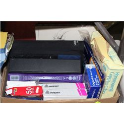 BOX OF OFFICE AND SCHOOL SUPPLIES