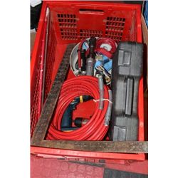 LARGE RED CRATE WITH TOOLS