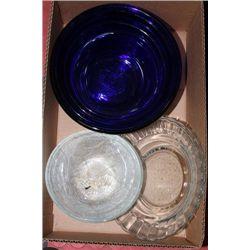 4 PIECE BLUE GLASS BOWLS , SALD BOWLS AND