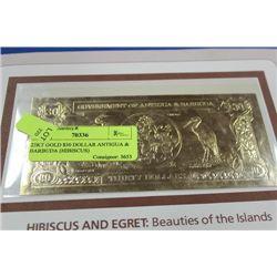 23KT GOLD $30 DOLLAR ANTIGUA & BARBUDA (HIBISCUS)