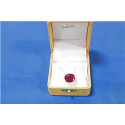 14 KT GOLD RUBY PENDANT NECKLACE