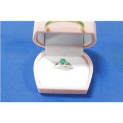 10 KT GOLD EMERALD (0.5CTS) AND DIAMOND (0.02CTS)