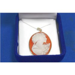 14 KT GOLD CAMEO PENDANT NECKLACE