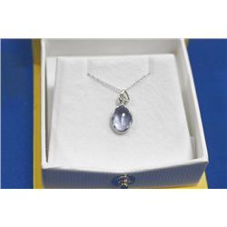 14 KT GOLD TANZANITE AND DIAMOND NECKLACE
