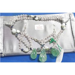 STERLING SILVER GEMSTONE NECKLACE AND EARRING SET