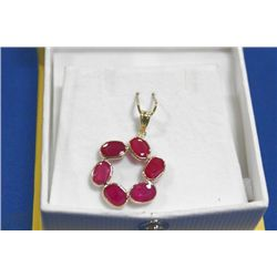 14 KT GOLD RUBY (6.5CTS) PENDANT