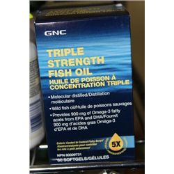 BOTTLE OF 60 GNC 3X STRENGTH FISH OIL SOFT GELS