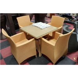 VINYL RATTAN PATIO SET, TAN, WITH 4 CHAIRS