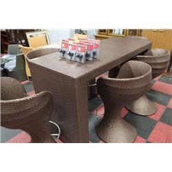 RECTANGULAR VINYL RATTAN TALL TABLE W/6 STOOLS
