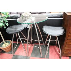 CHROME AND GLASS CONVERSATION TABLE W 2 STOOLS