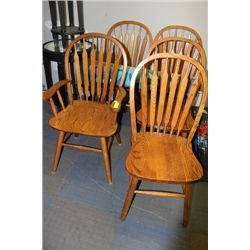 SET OF 5 OAK DINING CHAIRS