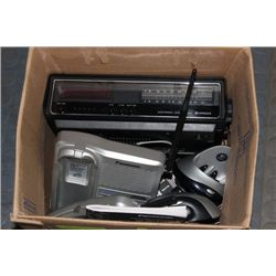 BOX W HOUSEHOLD PHONE/ALARM CLOCK ETC