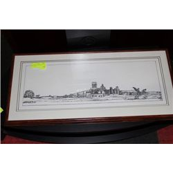 OAK FRAMED AB PACIFIC PULP MILL LITHOGRAPH