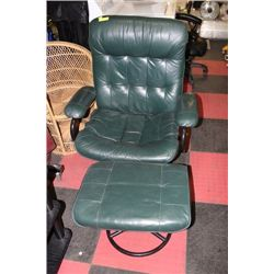 GREEN LEATHER CHAIR W/ OTTOMAN