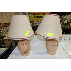 PAIR OF FLORAL LAMPS