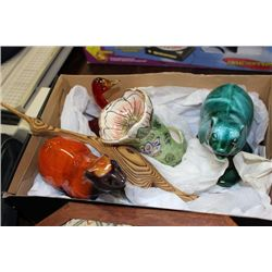 BOX OF BLUE MOUNTAIN POTTERY & MISC. ORNAMENTS