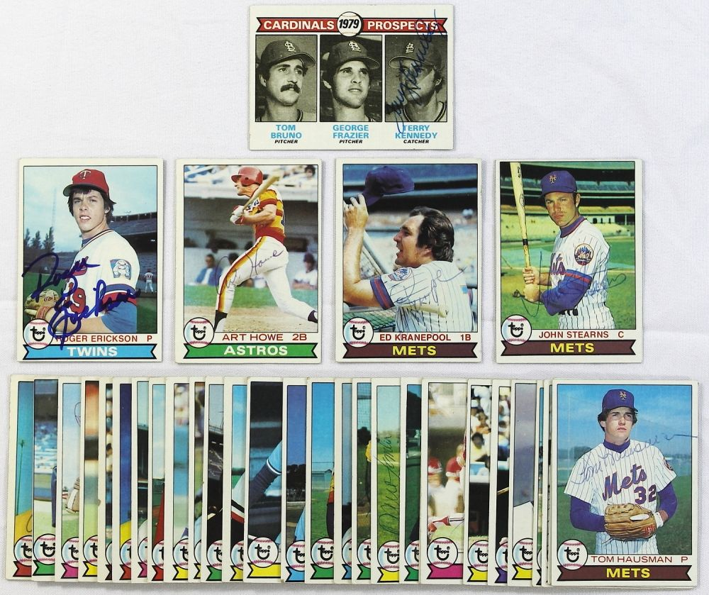 Lot Of 34 Signed 1979 Topps Baseball Cards With John Stearns Ed