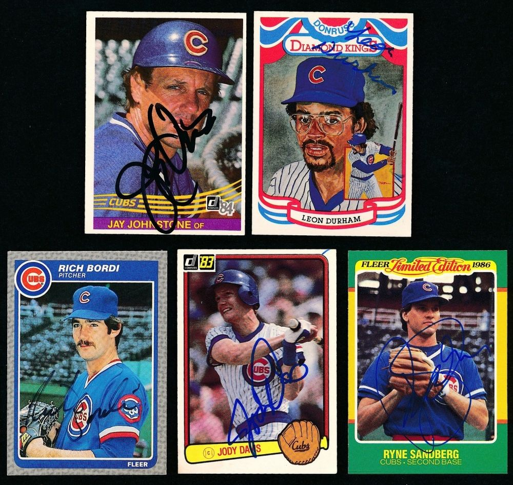 Lot Of 5 Signed Cubs Baseball Cards With Ryne Sandberg Jody
