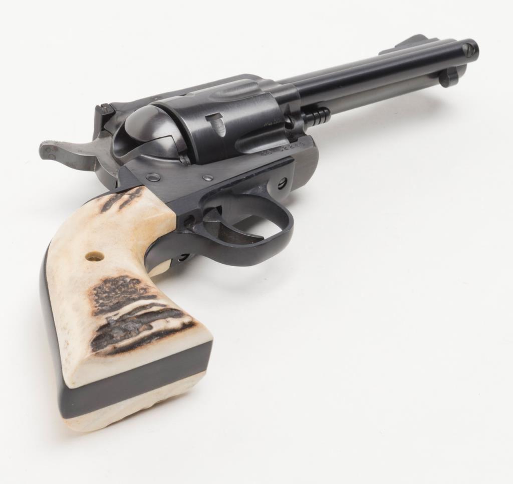 """Ruger New Model Blackhawk Single Action revolver,  45 cal , 4-1/2"""" barrel,  black finish, stag grips"""