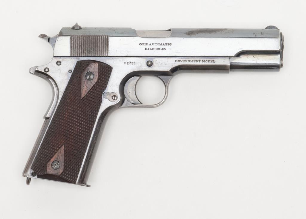 "Colt 1911 Commercial Model semi-auto pistol,  45 cal , 5"" barrel, high  polish blue finish, checker"