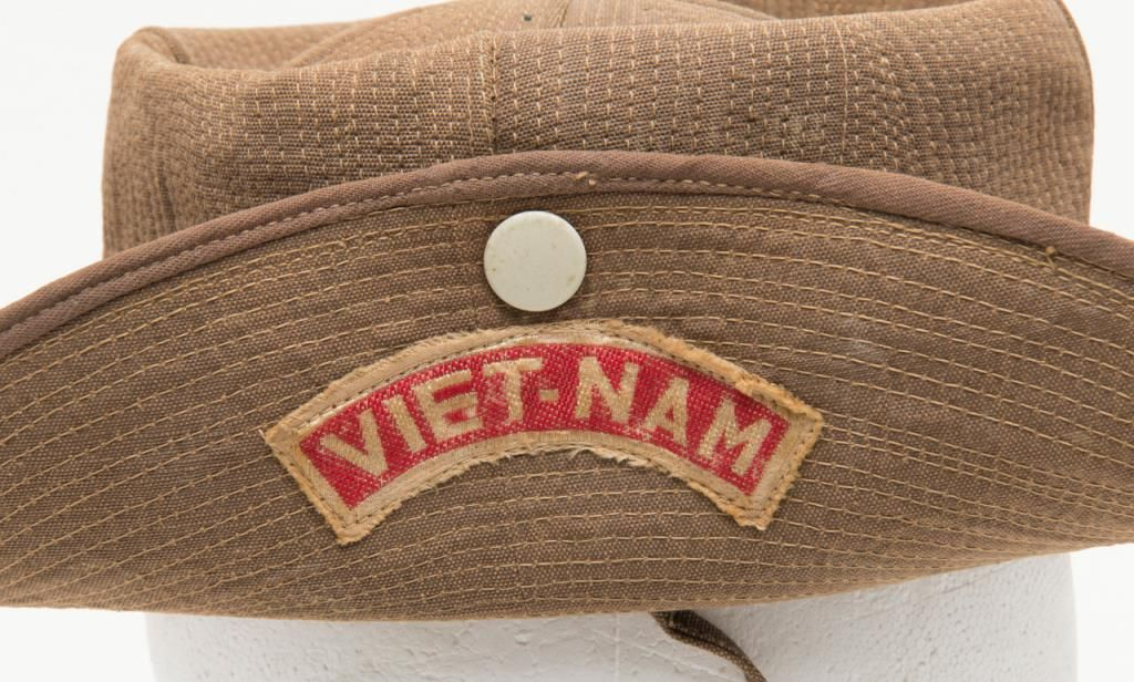 Lot of 2 military hats as described  One Vietnam era hat with patch for  South Vietnamese forces in