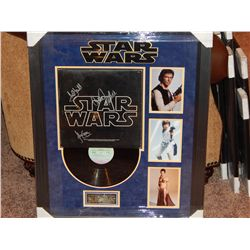 NO RESERVE! RARE STAR WARS LP - SIGNED BY HAMILL, FISHER & FORD