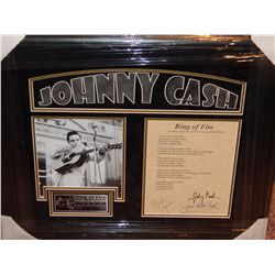 NO RESERVE! RING OF FIRE LYRICS - SIGNED BY JOHNNY CASH, JUNE CARTER CASH & MERLE KILGORE