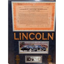 LINCOLN MOTORS 1921 STOCK CERTIFICATE - SIGNED BY LELAND & NASH