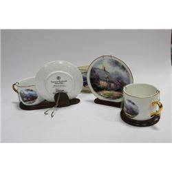 THOMAS KINKADE CUPS, SAUCERS AND VASE COLLECTION