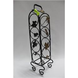 IVY AND WROUGHT IRON WINE STAND, 4 BOTTLE