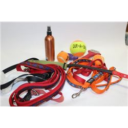 BOX W/ DOG LEASHES, TOYS & ACCESSORIES