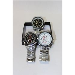BOX OF 3 NEW MENS STAINLESS STEEL WATCHES