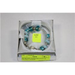 .925 SILVER CHARM BRACELET W/ COLORED CHARMS