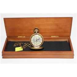 SWISS WIND-UP POCKET WATCH W/ CHAIN