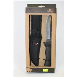 OLYMPIA RUBBER HANDLE HUNTING KNIFE WITH CASE