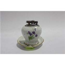HAND PAINTED PORCELAIN LIGHTER WITH DISH